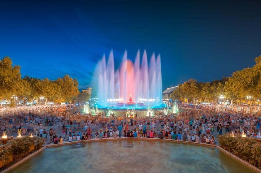 Magic fountain show at Font Magica